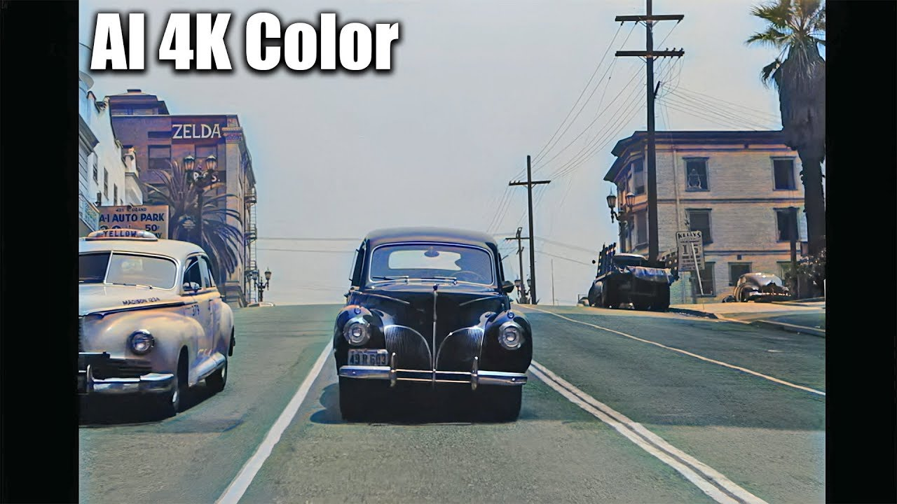 4K DeOldify | A drive through 1940's Los Angeles in COLOR